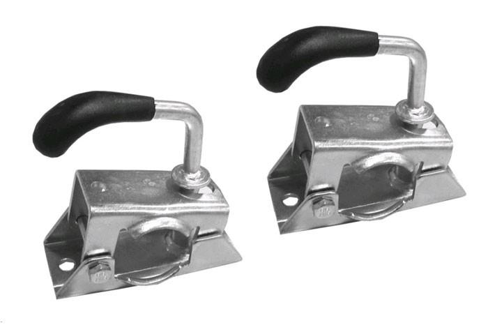 2 STÜCK Stützradklemmen Halter aus Blech für Stützrad Fallstütze oder Stützen ø 35 mm