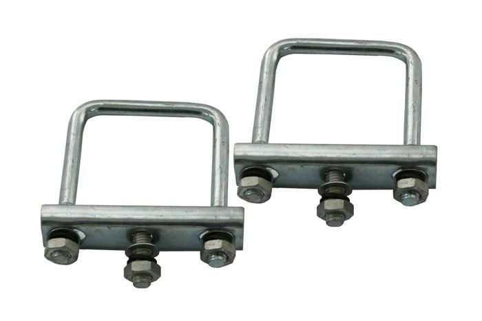 2 STÜCK Stützradhalterbefestigungen für 60 mm Seitenlänge Anhänger Deichselrohr eckig