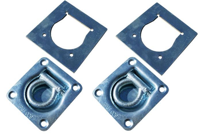 2 STÜCK Zurrmulden Zurrösen 800 kg rechteckig 100 x 95 mm mit Gegenplatte für Anhänger oder Pritsche